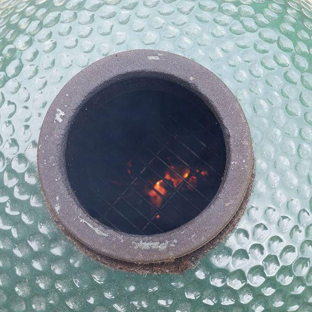 #BigGreenEgg getting fired up