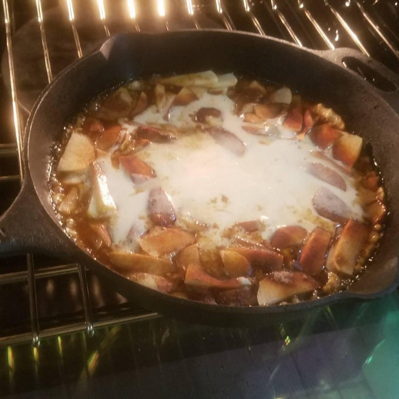 Apple Dutch Baby , step 2, batter is in