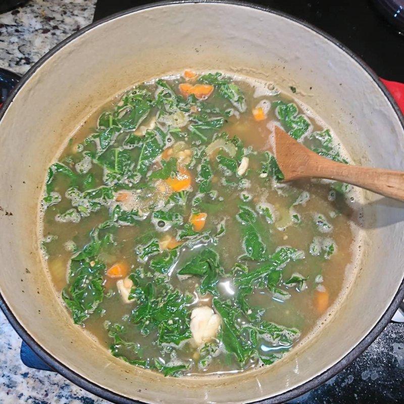 Chicken lentil kale soup.