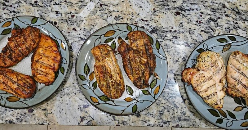 Grilled chicken three ways