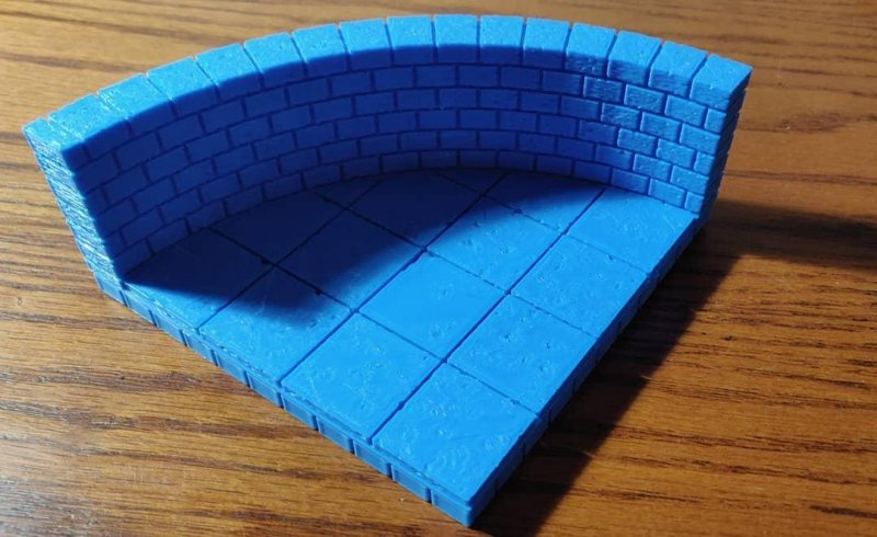 3d printed curved dungeon wall #openforge